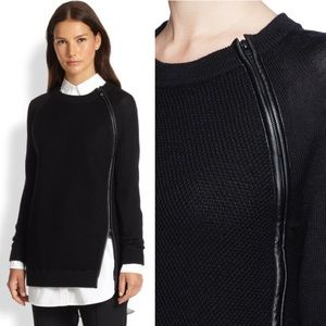 • Vince. • Leather Trim Zip Textured Sweater Blue
